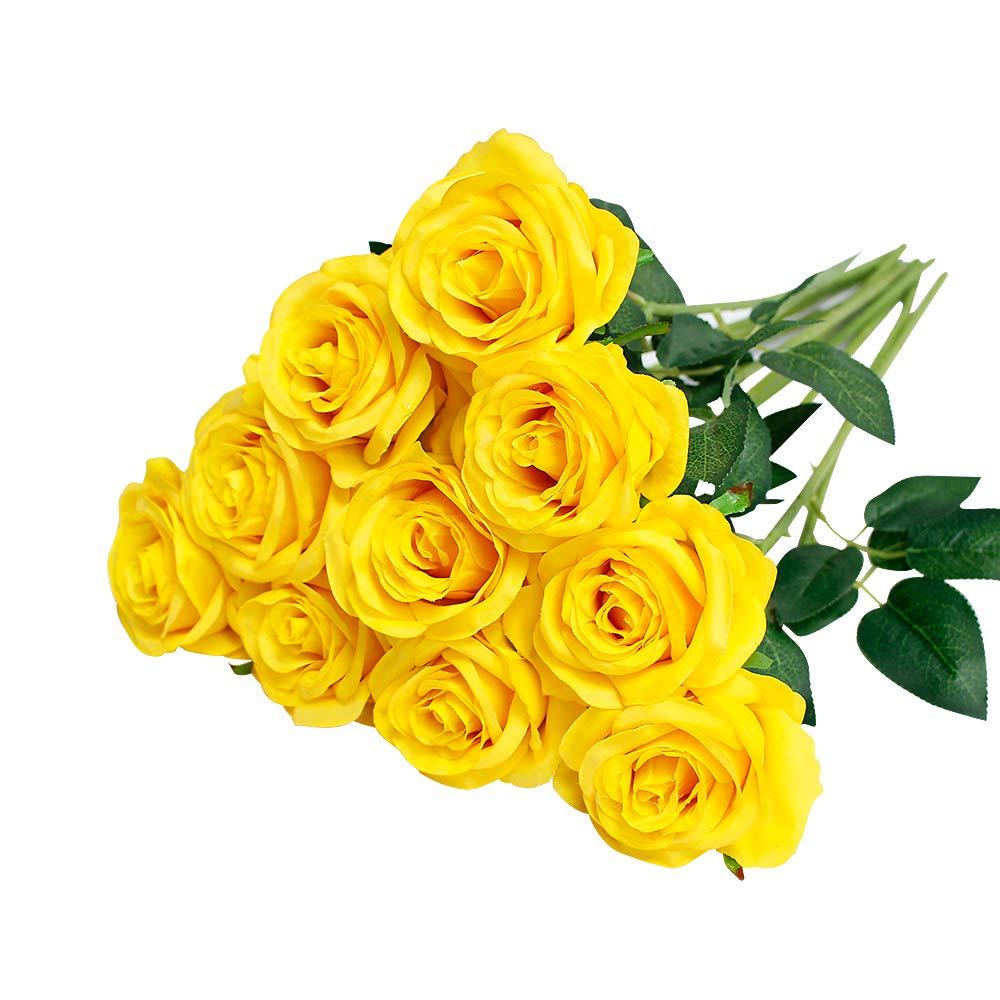Rosa finta con stelo per bouquet da sposa o decorazioni White singola bocciolo in seta Justoyou