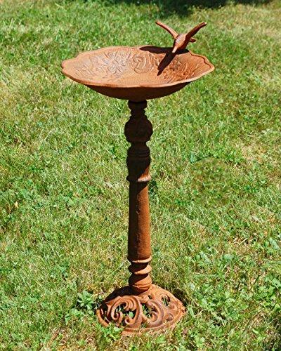 Vogeltränke Vogelbad Vogelbecken Wassertränke Tränke Wasserschale Rostfarben Braun Guss