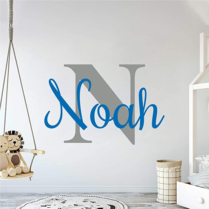 Multiple Font Custom Name & Initial Nursery Wall Decal - Mural Wall Decal Sticker for Home Children's Bedroom, Car & Laptop (OP001)