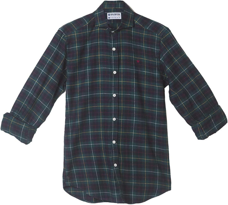 SILBON - Camisa Sport Kids Tartan Cuadro Verde Oscuro para ...