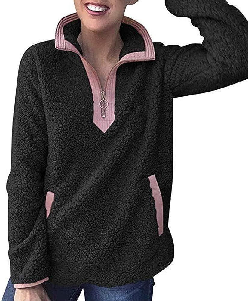 Wadonerful Women Hooded Pullover Stand Collar Long Sleeve Zip Up Fluffy Jumper Tops Plush Sweater Pockets Sweatshirts