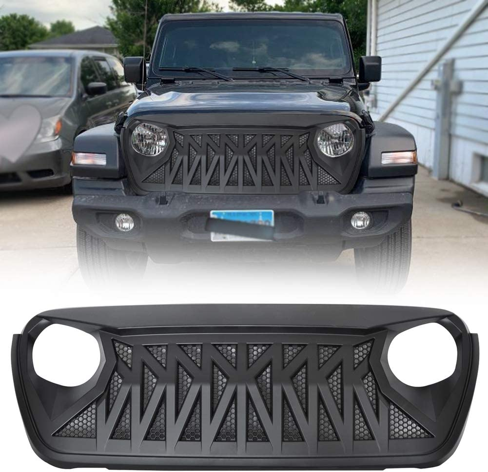 Modifying Front Shark Grille for 2018 2019 2020 Jeep Wrangler JL JLU Rubicon Unlimited Sahara Sport Accessories, Matte Black Grill - Newest Upgraded Style