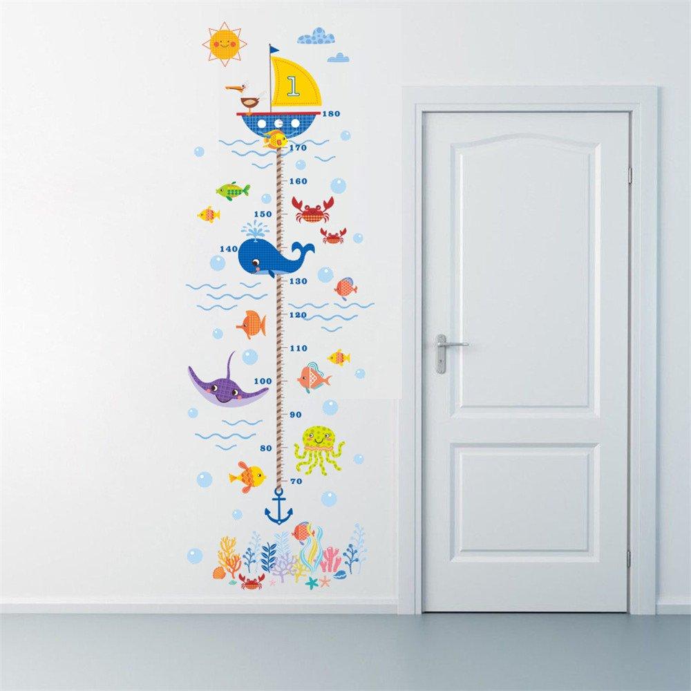 Rainbow Fox Altezza grafico Adesivi da muro Carina subacqueo Animali misurare grafici per bambini