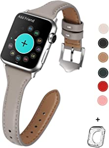 HUAFIY Leather Bands Compatible with Apple Watch 38mm 40mm, Top Grain Leather Band Slim & Thin Wristband for iWatch Series 5, Series 4/3/2/1 (French Grey//Silver Buckle, 38mm40mm)
