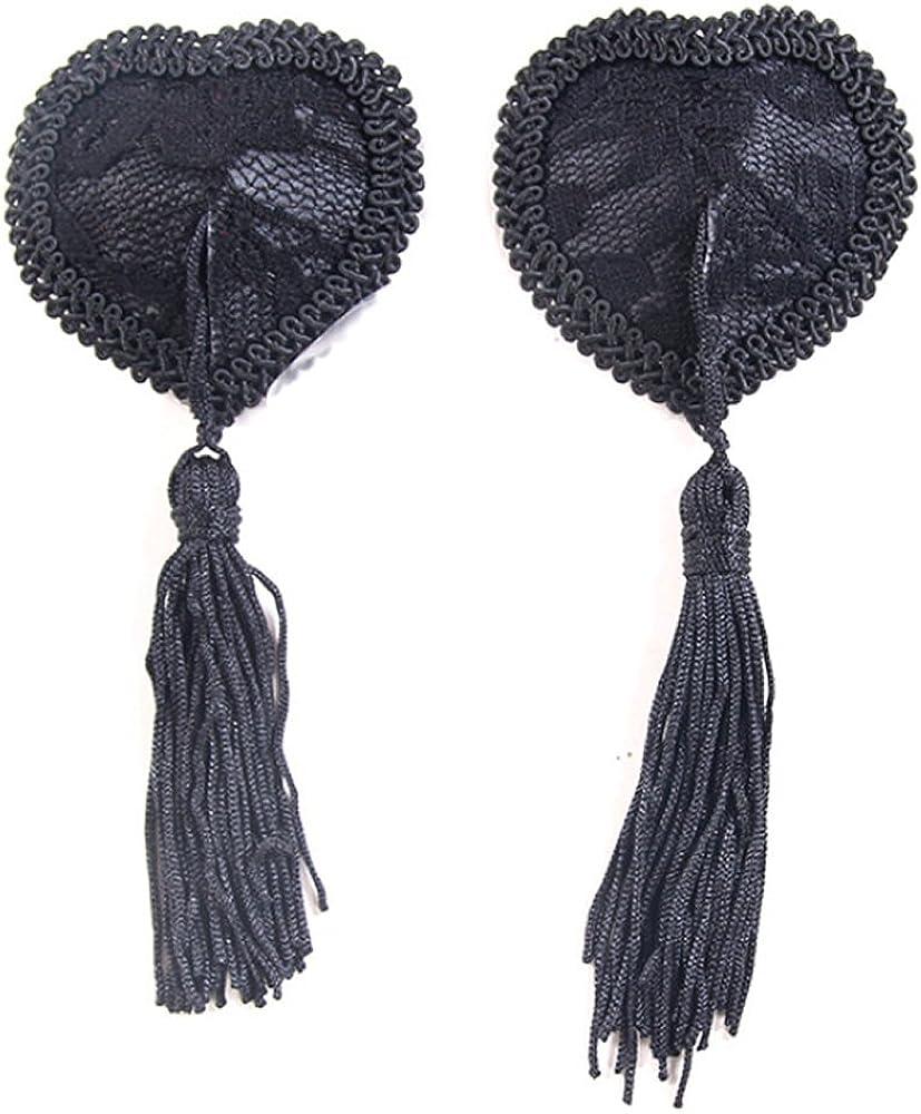 JFFKLS Nipple Covers Red Heart Shape lace lace Tassels Reusable Breast Petals