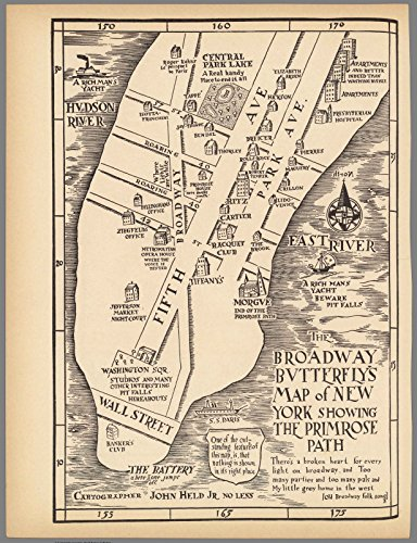Historic Map | The Broadway Butterfly's Map of New York Showing The Primrose Path, 1925 | Historical Antique Vintage Decor Poster Wall Art | 24in x 30in
