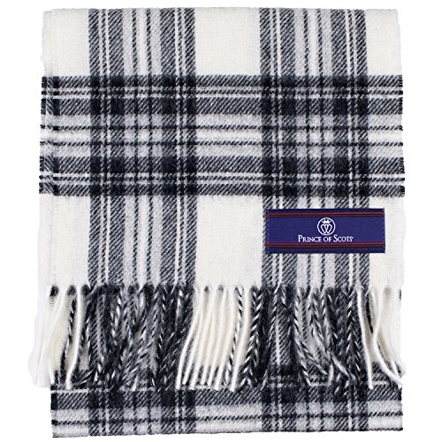 (Prince of Scots Pure Merino Lambswool Tartan Scarf Dress Grey Stewart,Black/White,One Size)
