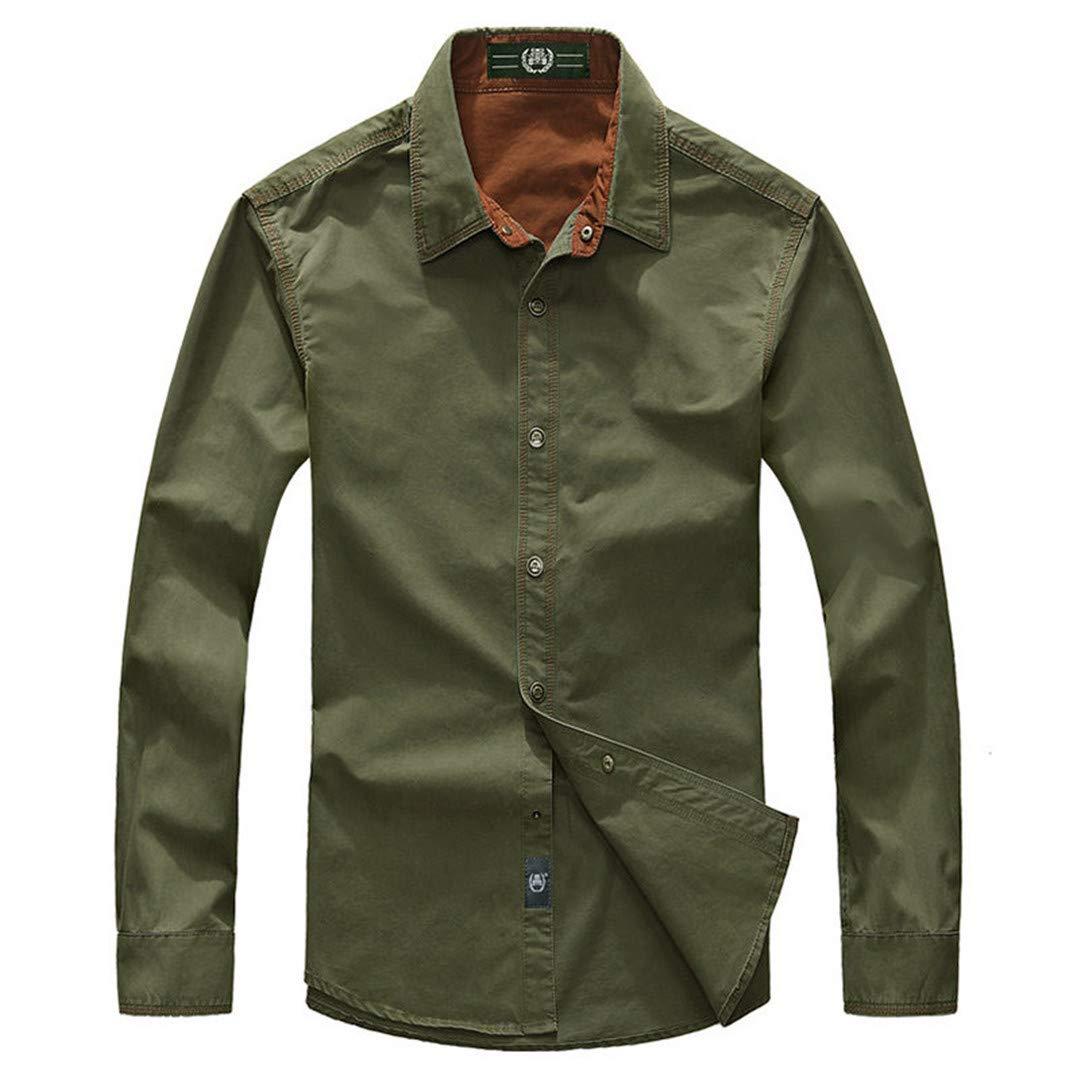 Mens Spring Casual Pure Cotton Khaki Long Sleeve Shirt Autumn Army Green Shirts Dark Blue