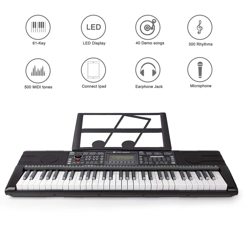 Electronic Piano Keyboard, 61 Light up Keys Portable with Smart LCD Display, 3 Teaching Mode, 40 Demo Songs, Piano Gig Bag by Vangoa (Image #2)