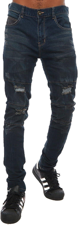 Mens Hipster Basic Distressed Holes Skinny Slim Fit Pants KND4052 30, Dark Blue