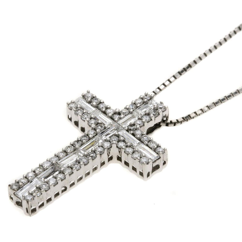 [セレクトジュエリー]クロスデザイン ダイヤモンド ネックレス K18ホワイトゴールド レディース (中古) B07C8H6GWX