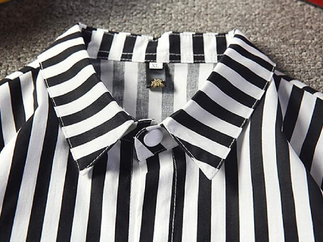 X-Future Mens Lapel Relaxed Fit Long Sleeve Casual Stripe Print Button Up Shirt
