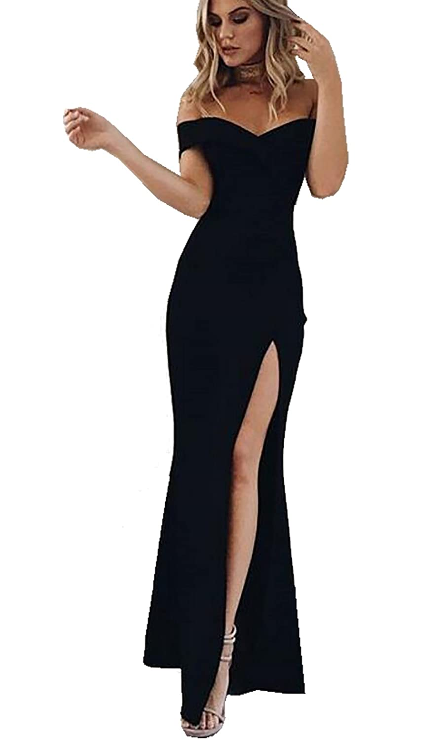 d05d3aa7d0 PRETTYGARDEN Women s 2019 Off Shoulder Side Split Slim Evening Maxi Party  Dress at Amazon Women s Clothing store