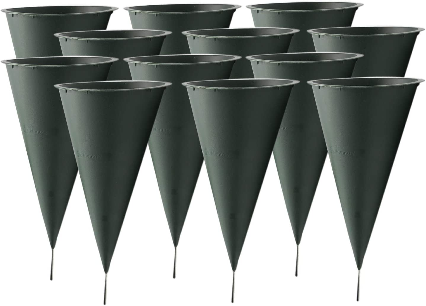 Royal Imports Cemetery Flower Vase Cone for Graveside Memorial with Metal Stake Large 10.75 X 4.75 inch – 12 Pk