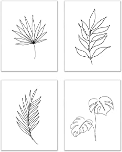 Minimalist Leaves Prints - Set of 4 (8x10 Inches) Glossy Tropical Botanical Continuous Contour Line Wall Art Decor - Monstera - Palm - Eucalyptus