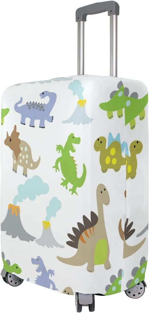 OREZI Luggage Protector All Kinds Of Dinosaurs Travel Luggage Elastic Cover Suitcase Washable and Durable Anti-Scratch Stretchy Case Cover Fits 18-32 Inches