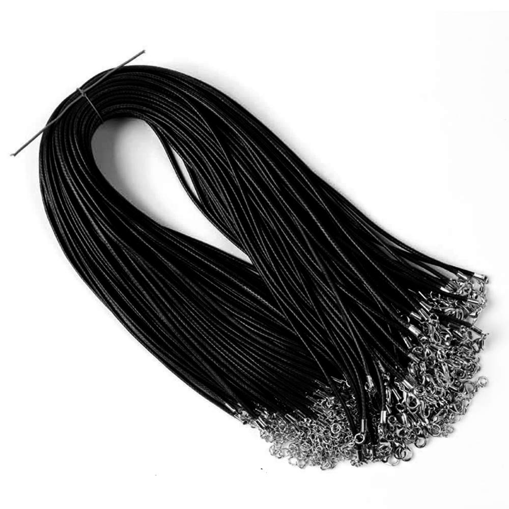 RayLineDo 20 Pieces 18 inch Wax Cord Necklaces 1.5mm Black Braided Imitation Leather Cord Rope Necklace Chain with Lobster for DIY Jewelry Making