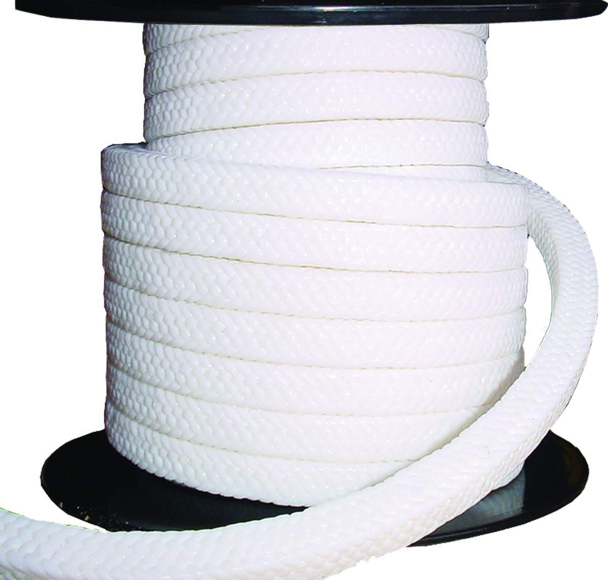 Minseal 1400L - PTFE Braided Compression Packing, Clean White, Oil Lubricated, for Pump Valve or Mechanical Seal, 3/8'' x 3/8'', 8 feet