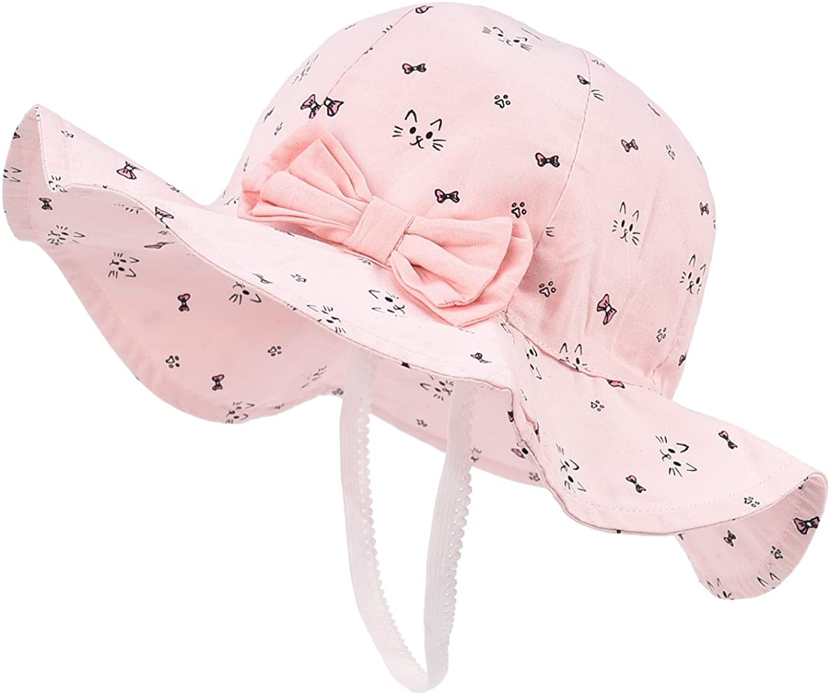 SOMALER Baby Sun Hats Toddler Infant Wide Brim Sun Beach Hats Kids Summer Cotton Bucket Hat for Girls