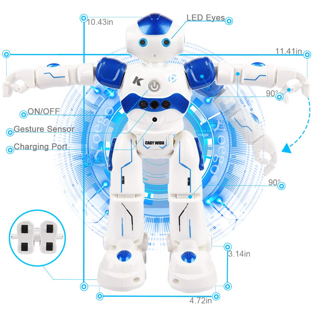 Yoego Remote Control Robot, Gesture Control Robot Toy for Kids, Smart Robot with Learning Music Programmable Walking Dancing Singing, Rechargeable Gesture Sensing Rc Robot Kit (Blue) by Yoego (Image #3)