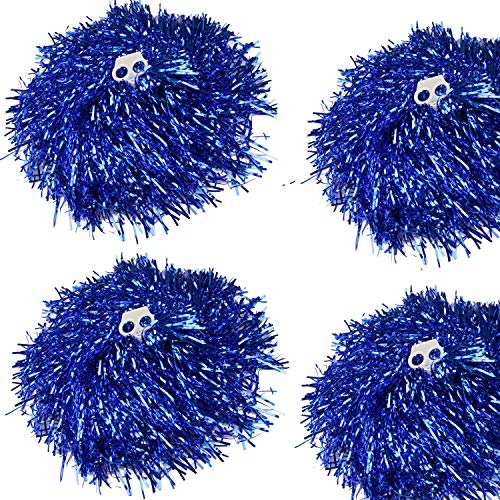 CRIVERS 4pc Cheerleading Pom Poms,Cheerleader Pompoms for Ball Dance Fancy Dress Night Party Sports -