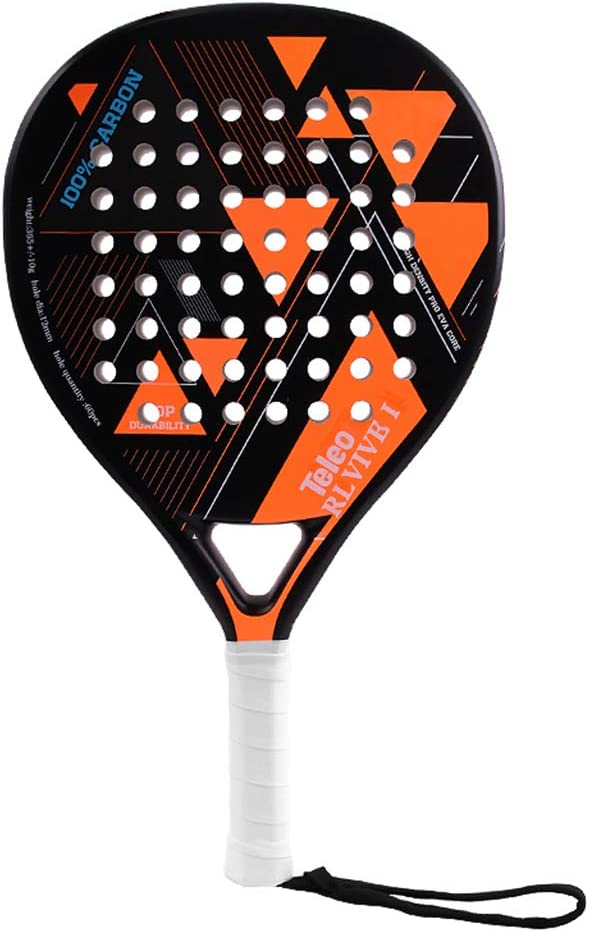 SHJR Pala de Pádel 2020, Tennis Paddle Racquets, Fibra de Carbono Completa, Mate, Adultos Unisex, Naranja/Negro