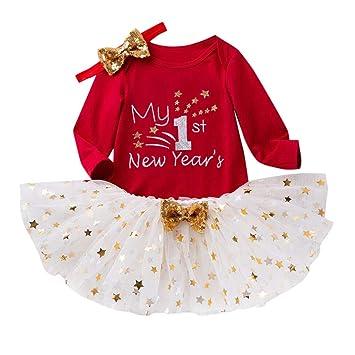 Toddler Infant Baby Kids Girls Christmas Day Romper Tops Tutu Dress Hairband Set