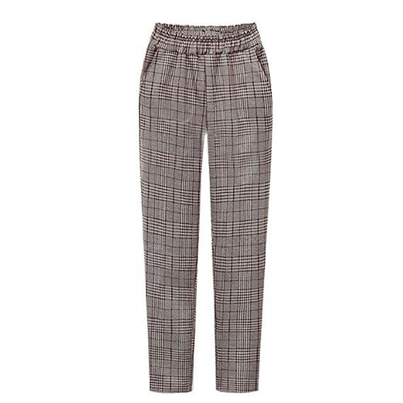 Luckycat Pantalones Cuadros Impresión para Mujer Pantalón De ...