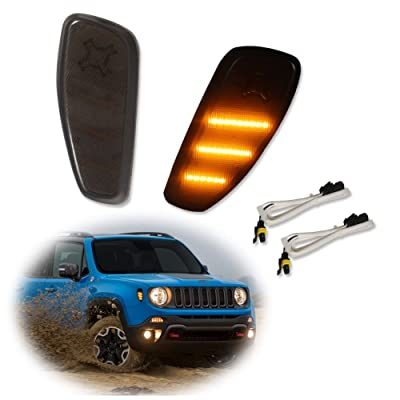 Miniclue 2pcs Smoked Lens Amber LED Lights Side Marker Turn Signal Lamps Update Kit For Jeep Renegade 2014 2015 2016 2020 2020: Automotive
