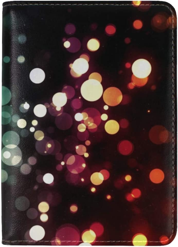 JiaoL Pixels Colorful Circles Leather Passport Holder Cover Case Travel One Pocket