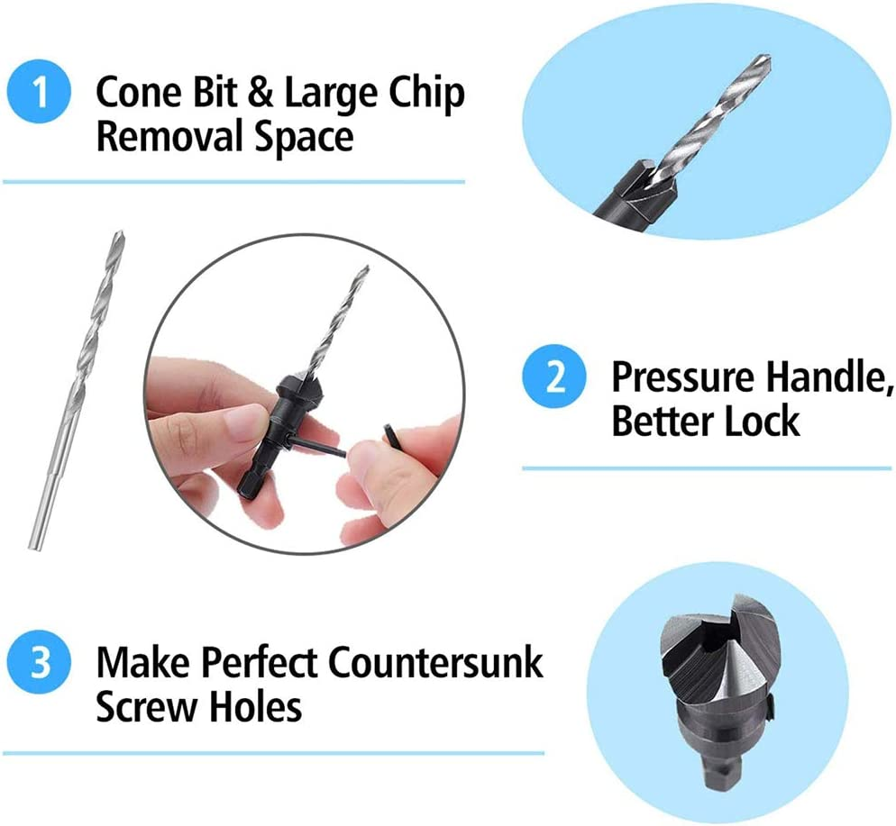 SQINAA 4Pcs HSS Woodworker Countersink Drill Bits 1//4 Quick Change Hex Shank for Drilling Holes