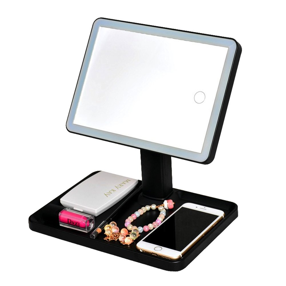 Large Vanity Mirrors with Lights and Storage Tray,Large Touch Screen Led Makeup Mirror, 44 LED 3 Color Lights, 360°Rotation, USB Rechargeable