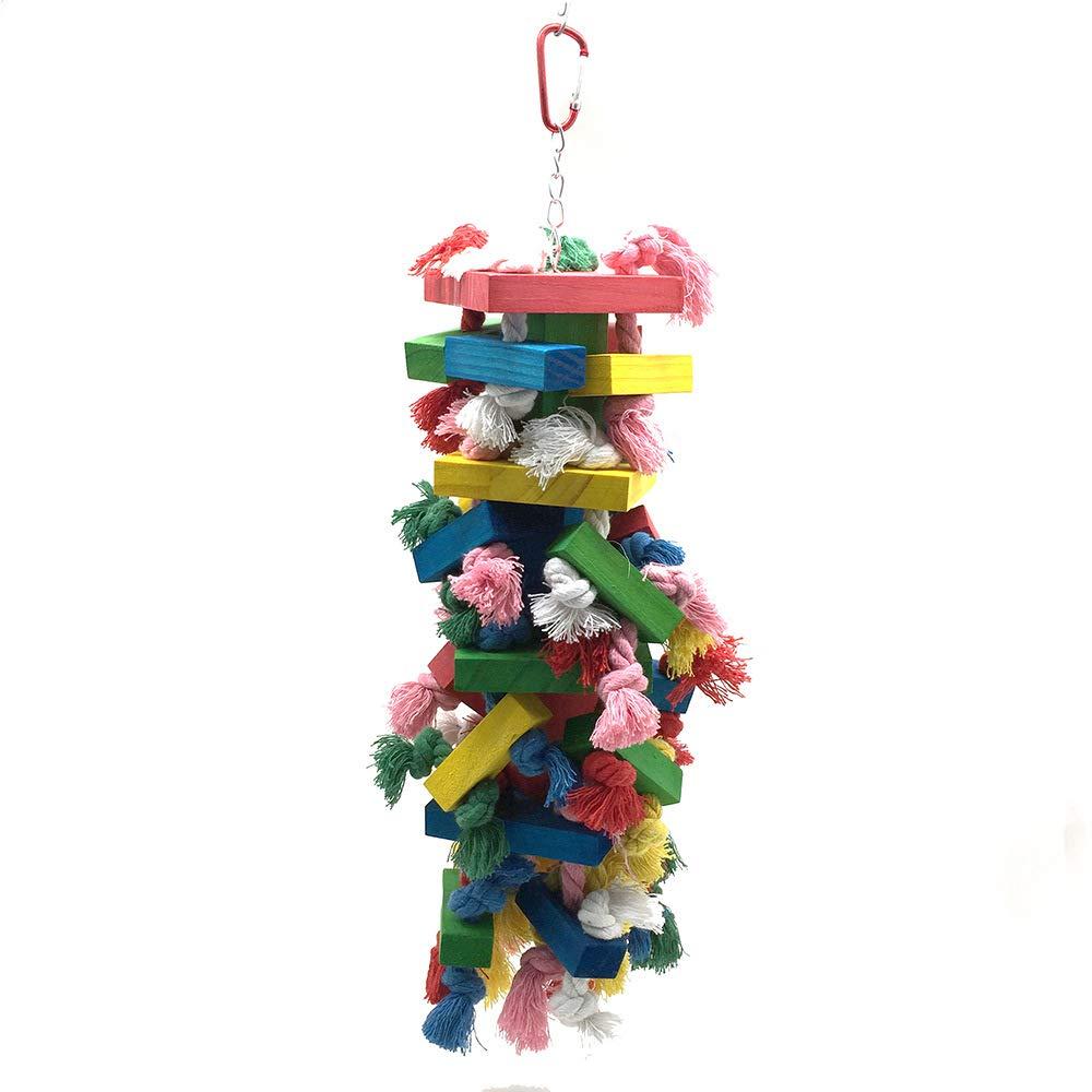 Pet Online Bird Toy Large Parred color Cotton Rope Wooden Column, 15×43cm