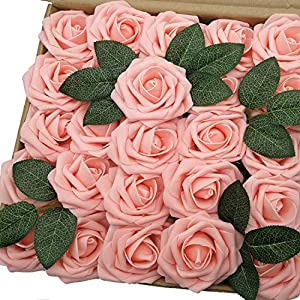 J-Rijzen Jing-Rise Peachy Pink Artificial Flowers Real Looking 50pcs Fake Roses for Bridal Shower Wedding Birthday Floral Arrangements Baby Shower Centerpieces(Peachy Pink) 60