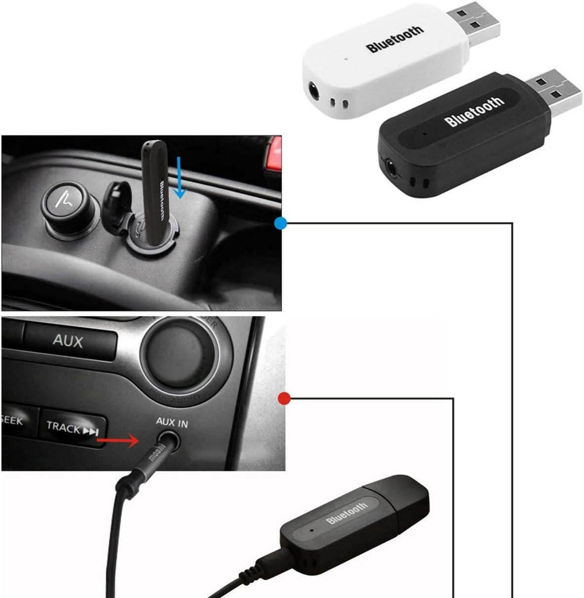FHJZXDGHNXFGH Adaptateur USB pour voiture Bluetooth Jack 3.5mm R/écepteur Bluetooth Lecteur de musique Mains-libres couleur: noir