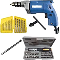 Shree Jee Traders Electric Drill Machine 10Mm With 6Hss & Masonry Bit & Screwdriver Set, Multicolor