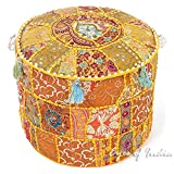 Eyes of India 17 X 12 Yellow Patchwork Round Ottoman Pouf Pouffe Cover Floor Seating Bohemian Boho Indian