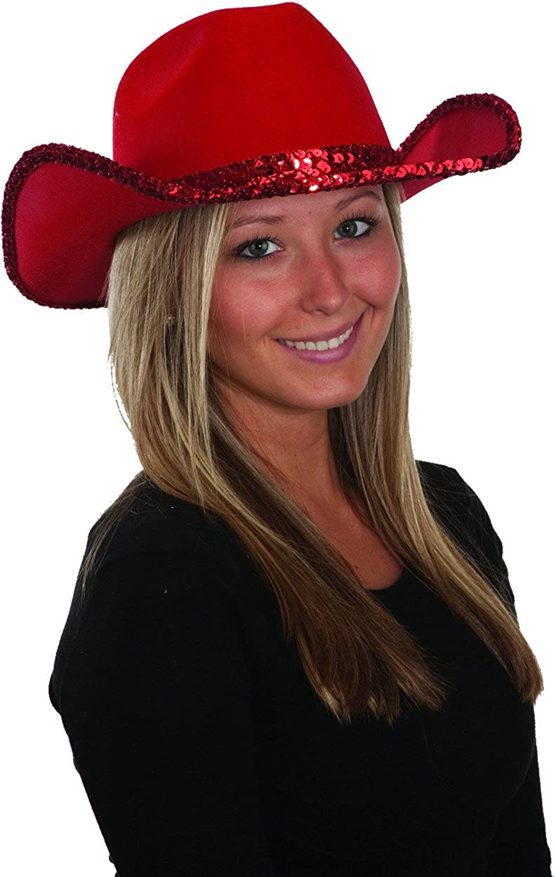 Amazon.com  Women s Red Sequin Felt Cowgirl Cowboy Hat Costume Accessory   Clothing 90eb54a0fd5