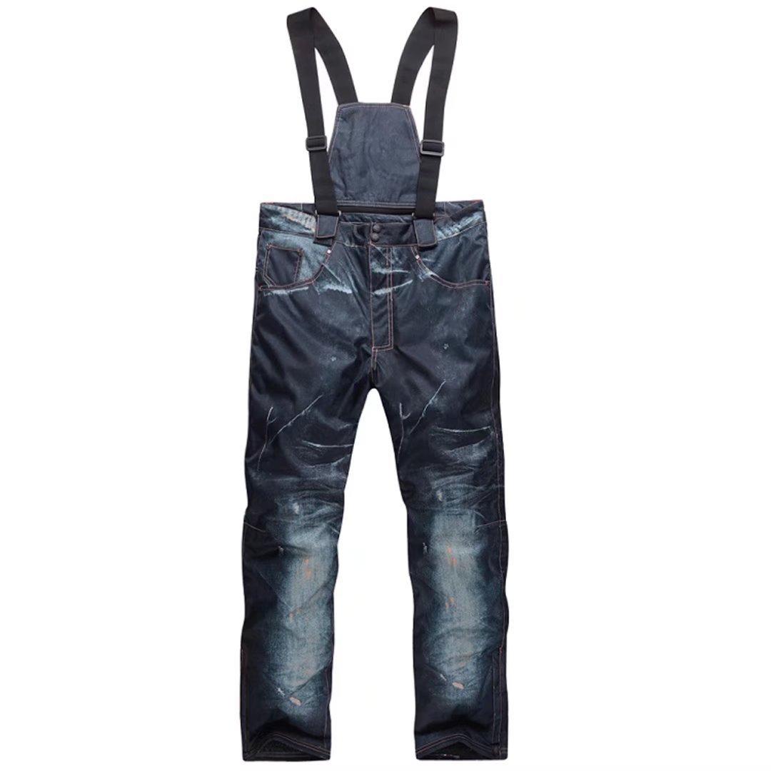 OLEK Mens Insulated Waterproof Ski Snowboarding Pants Snow Warm Thicken Pants Jeans