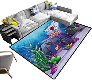 "Ocean Modern Indoor Rugs Cartoon Style Underwater World Plants and Evil Shark Chasing Little Fish Illustration Yoga Mat Rug Multicolor (4'7""x5'2"")"
