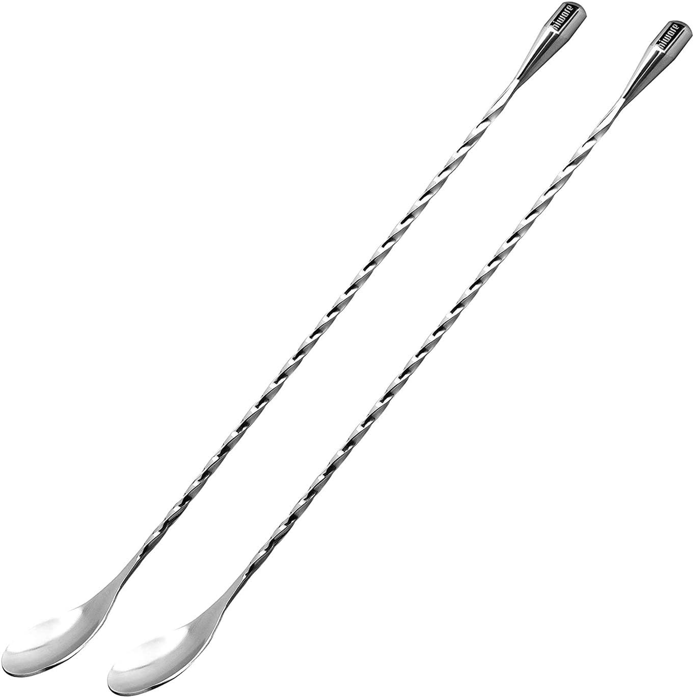 Hiware 2-Pack 12 Inches Stainless Steel Mixing Spoons, Spiral Pattern Bar Cocktail Shaker Spoon