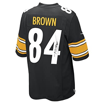 e0b391db197 Antonio Brown Autographed Signed Pittsburgh Steelers Black Nike Replica  Jersey Steiner Coa
