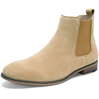 Mens Chelsea Boots Leather High Top Shoes Ankle Booties Formal Business Casual