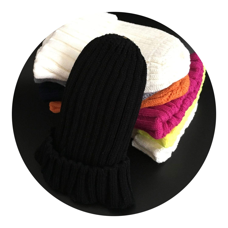 Winter Female Fur Pom Poms hat Winter Hat for Women Girls Hat,Black,Adult Size