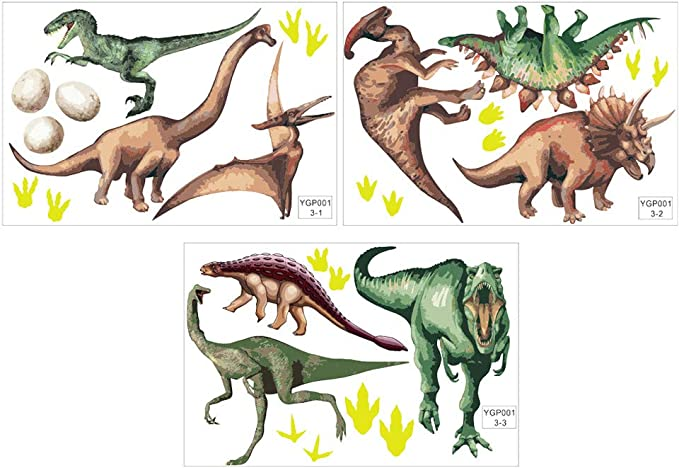 Mural de Pared Pegatinas Luminosas Dinosaurio Pegatina de Pared Fluorescente Dormitorio Decoración para el hogar 3pcs Pegatina de Pared Decoración para el hogar Calcomanía de habitación: Amazon.es: Hogar