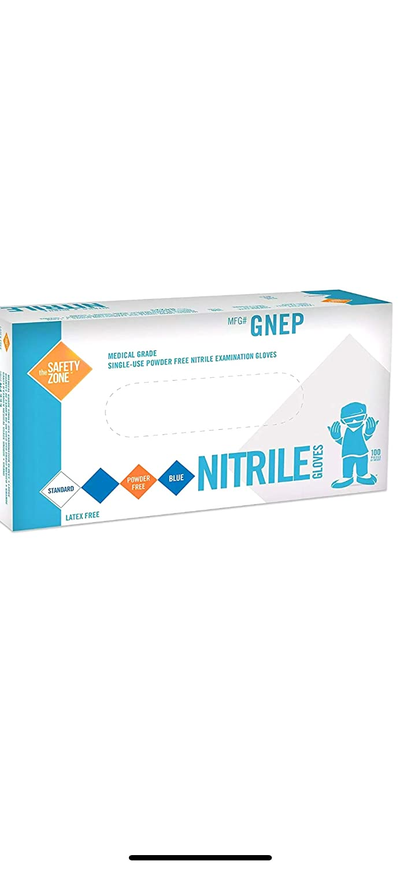 Case of 1,000 Gloves Medium The Safety Zone Powder Free Indigo Nitrile Gloves