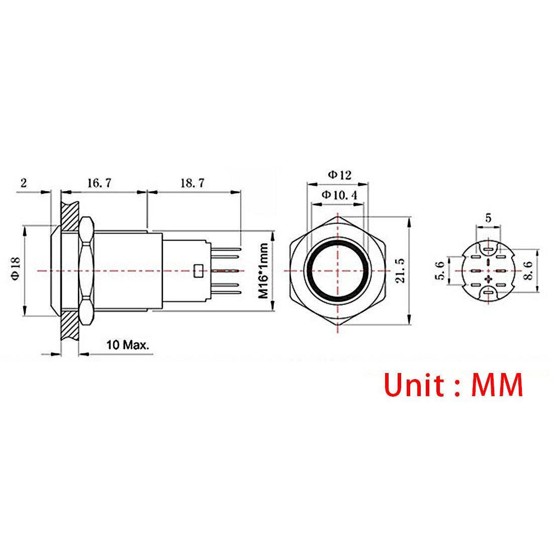 Andux Land Metal Push Button Switch Blue LED Ring 3A 12mm Latching 5pcs JSANKG-02