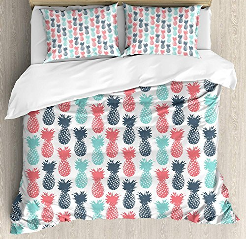 (Pineapple 4 Piece Bedding Set Queen Size, Island Pineapple Tropic Fruit Pattern Stamped Minimal Backdrop Pop Art, Duvet Cover Set Quilt Bedspread for Childrens/Kids/Teens/Adults, Turquoise Coral)