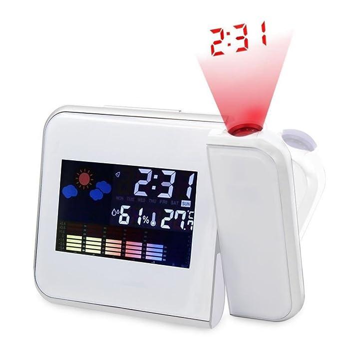 STRIR Reloj de proyección digital, Pantalla LED Alarma de proyección Reloj,Termómetro, Humedad, Snooze, Temperatura 12/24 Hora: Amazon.es: Hogar