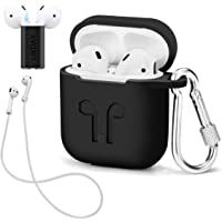 LIKDAY AirPods Case with Strap Protective Silicone Cover with Carabiner for Apple Airpods Accessories (Black)